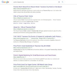 Google Results for Point A Traverse City