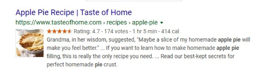 screenshot of google search results featuring a recipe for apple pie that has schema markup