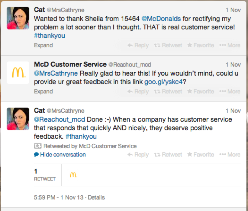 screenshot of a positive customer interaction with mcdonald's on twitter