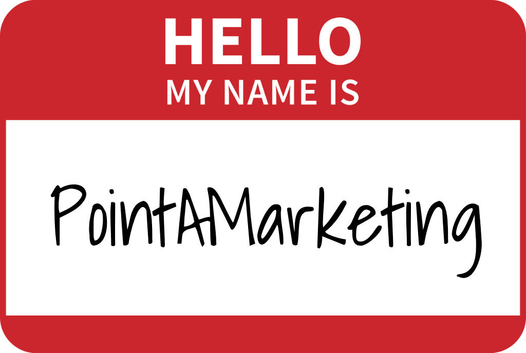 hello my name is sticker with pointa marketing written as the name