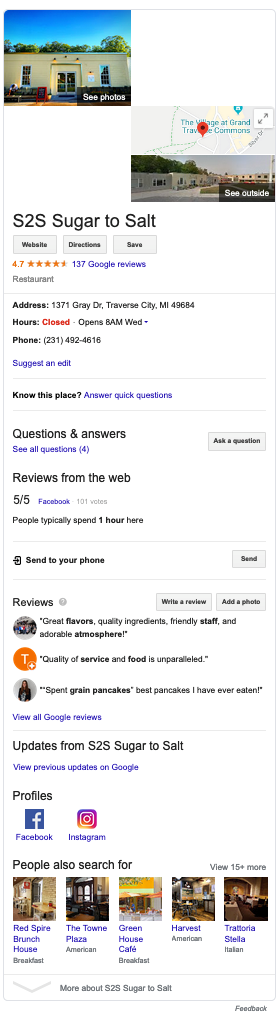 screenshot of Google search results for query