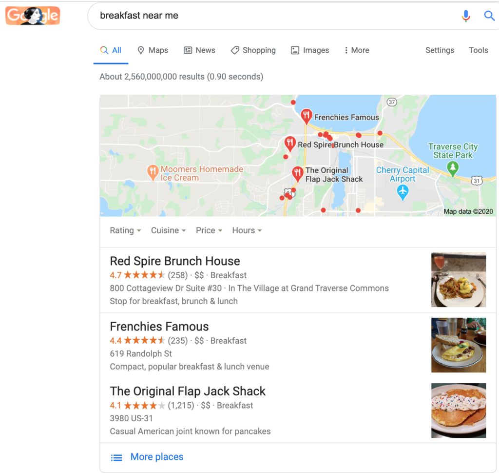 screenshot of the google search results page for the search query breakfast near me