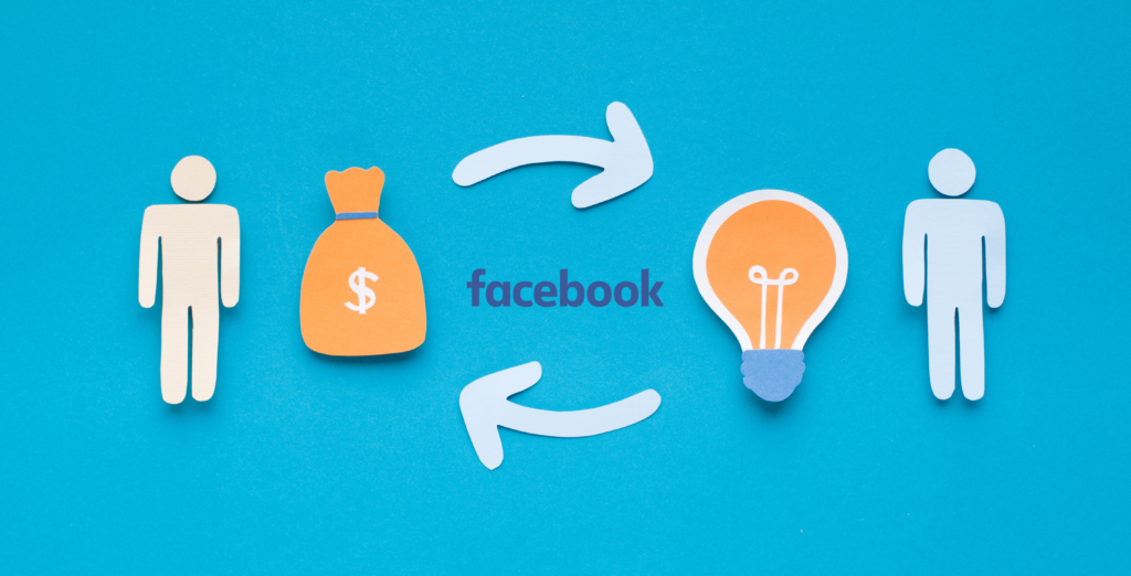graphic of stick figure with idea graphic generating dollar signs with the facebook logo in the middle