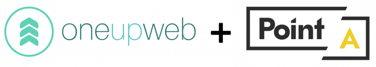 oneupweb and pointa logos side by side with a plus sign in the middle